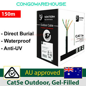 CAT 5e 150m Underground Cable Ethernet Data Solid Copper Core Water Resistant