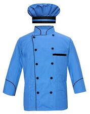 Leorenzo Fabricated PN-71 Men's Sky Blue Chef Coat Black Piping/ Coat with Cap