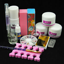 Pro Nail Art Kit Acrylic Liquid Powder Pen Dappen Dish Set Tips Forms Deco Tools