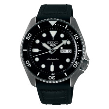 全新現貨SEIKO精工 Genuine Black 皮革矽膠錶帶自動 Men? 手錶 SRPD65K3 HK*1