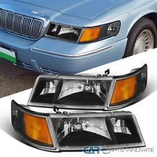 For 98-02 Mercury Grand Marquis Black Headlights+Clear Corner Signal Lamps
