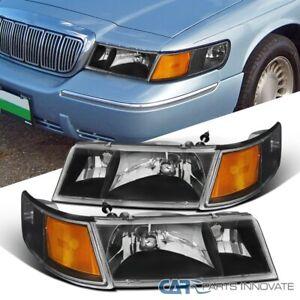 For 98-02 Mercury Grand Marquis Black Headlights+Clear Corner Signal Lamps