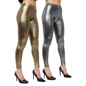 Women Leggings Metallic Trouser Disco Ladies Fancy Dress Costume Accessory Pants