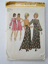 NOS 1973 Simplicity Pattern 5561 Halter Dress & Jacket Belly Top Shirt Duster