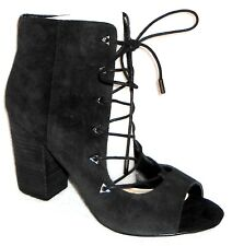 New Fergie Riviera Open Toe Black Suede Ankle Boot Lace Up Heels 9.5 M