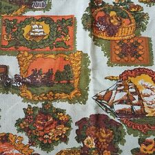 "Fabric Remnant Barkcloth Riverboat Ship Spinning Wheel  48x44"" Brown Orange"