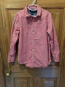 Gap Kids Red/White Gingham Check Plaid Button Down Shirt Boys Size Large 10-12