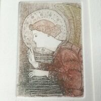 Vintage Original Italian Painting of a Saint. Signed & Numbered. 9x7