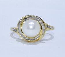 14k yellow gold pearl and diamond women's ring