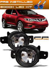 For 2015-2017 Nissan Murano Front Replacement Fog Lights Housing Clear Lens +LED