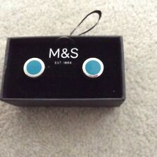 New Marks and Spencer Silver/Turquoise Stud Cuff Links