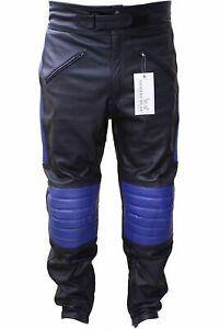 GermanWear Biker Trousers Motorcycle Leather Pants Cowhide Black