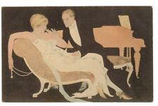 POSTCARD ART DECO COUPLE WITH CIGARETTE FADEAWAY STYLE