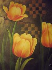 Astratta fiori grande dipinto a olio su tela moderno Floreale Arte Contemporanea Tulipani