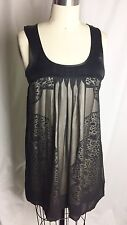 MARCIANO 100% SILK Black Leopard Print Sleeveless Baby Doll Dress XS