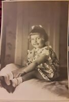 Vintage 1930s Photo of Precious Beautiful Little Girl with Stuffed Kitty Cat