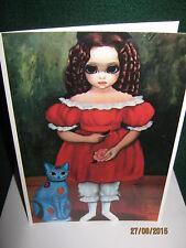 """Vintage 1963 Margaret Keane (Buy 2 Get 1) """"Calico Cat"""" Cards (1) w / Envelope"""