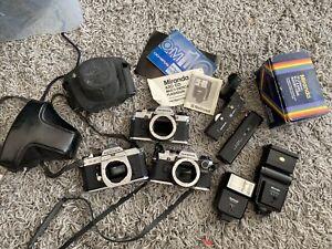 Camera Job Lot Bundle Olympus OM10 Pantax KX, Lenses, Winders, Cases