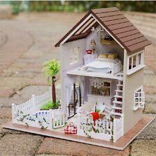 Paris DIY Cabin Doll House Cute LED Dollhouses Miniature Kit Xmas Gift for Kids
