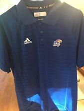 Adidas KU Kansas Jayhawks Coaches Polo Shirt Size L Blue Red Climalite