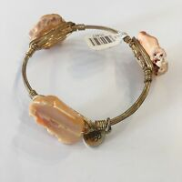 NWT Womens Bangle Bracelet Gold Toned With Agate Accents