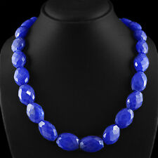 633.35 CTS EARTH MINED FACETED RICH BLUE SAPPHIRE OVAL SHAPED BEADS NECKLACE