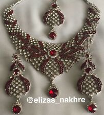 Bollywood Style Ruby Red and Silver necklace set. Indian/Pakistani Art  Jewelry