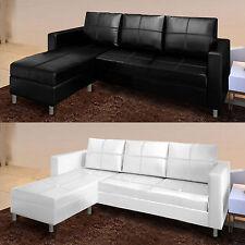 Divano angolare moderno ecopelle con pouf sofa reversibile bianco nero 3 posti A