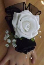 Wedding flowers wrist corsage white/black & button hole white rose
