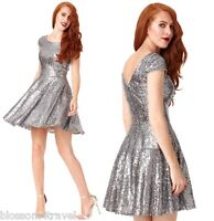 Goddiva Silver Sequin Cap Sleeve Swing Skater Prom Formal Evening Party Dress