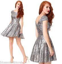 Goddiva Silver Sequin Cap Sleeve Swing Skater Prom Formal Evening Party Dress