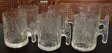 Set 6 Clear Crinkle Glass Heavy 12 oz. Mugs circa 1970 Vintage