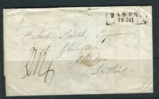 GERMANY BADEN; 1854 early LETTER/COVER to Scotland fine used item