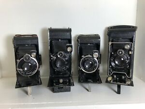 Lot of 4 Folding Pearl, contessa nettel, ICA and Zeiss. Not Tested As Is