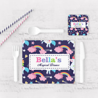 Personalised Unicorn Magical Dinner Kids Children's Table Placemat & Coaster