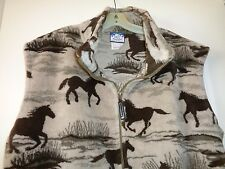 NORTHERN LIFESTYLES (MADE IN CANADA) THICK FLEECE HORSE PRINT VEST XL/TG