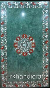 30 x 48 Inches Green Marble Dining Table Top MOP Gemstones Meeting table top
