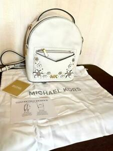 MICHAEL KORS WHITE Small Leather Convertible Backpack  RRP $350
