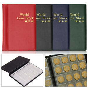 120 Coins Red Collection Album Books Collecting Penny Pockets Storage Holder