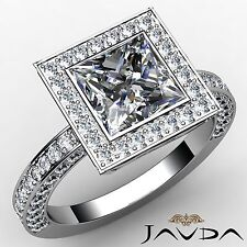 Princess Diamond GIA H VS2 18k White Gold Bezel Halo Set Engagement Ring 2.98ct