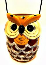 Yellow Owl Solar Lantern Shabby Vintage Look Indoor Outdoor 6.75 inches Tall