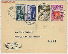 ITALIA REPUBBLICA: Storia Postale - LAVORO / HELICOPTER su BUSTA tariffa  - 1951