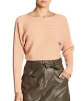VINCE Womens Size M Ribbed Wool Cashmere Tie Cutout Back Sweater Blush Pink