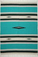 "Diamond Center Serape Blanket Southwest    60"" x 84"" Heavy Weight Light  Green"