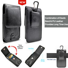 Black Leather Pouch Case Holster Clip Fits Smart Phone with Otterbox Hybrid ON