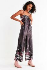 e8ddb894ef49 Urban Outfitters UO Sz: XS Straight-Neck Floral Satin Jumpsuit Wide Leg