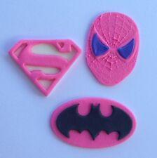 12 edible SUPER HERO GIRL PINK cake topper CUPCAKE DECORATIONS batgirl supergirl