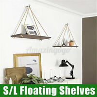 Wooden Hanging Shelf Swing Floating Shelves Rope Wall Display Rack Decorate