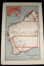 Antique Vintage 1888 MAP of WESTERN AUSTRALIA -Perth City Insert-70x45cms, Index