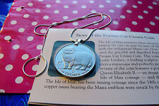 """1989 Persian Cat Crown Coin Pendant on a 20"""" Italian .925 Sterling Snake Chain."""